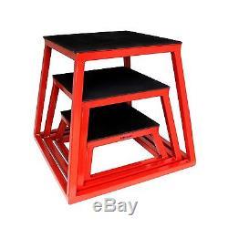 Ader Fitness Red Plyometric Platform Box Set- 6, 12, 18 (PMPF-6R-18R)