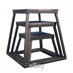 Ader Sporting Goods Plyometric Platform Box Set- 12, 18, 24 Black