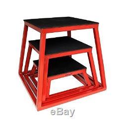 Ader Sporting Goods Plyometric Platform Box Set- 6, 12, 18 Red
