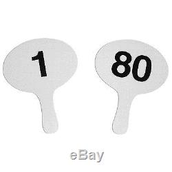 Better Bidders 11.5in Oval Cartonplast Auction Paddles Set, White, Numbered 1-80