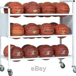 Champion Sports Double Wide Ball Cart 24BC Basketball Ball Cart NEW