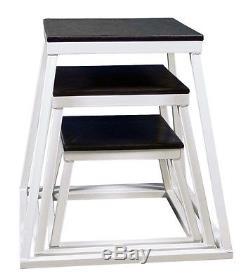 Cross Training Fitness 3 PC White Plyometric Box Set- 12,18, 24