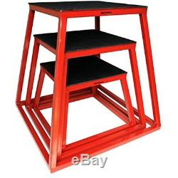 Jumping Trainers Plyometric Platform Box Set- 12, 18, 24 Red