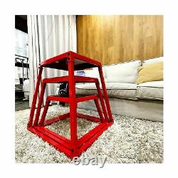 Plyometric Box Set, Jumping Agile Box Set, Red Plyometric Platform with Resis