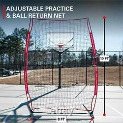 Rukket Basketball 6x10 Adjustable Return Net Guard and Backstop, Hoop Rebound